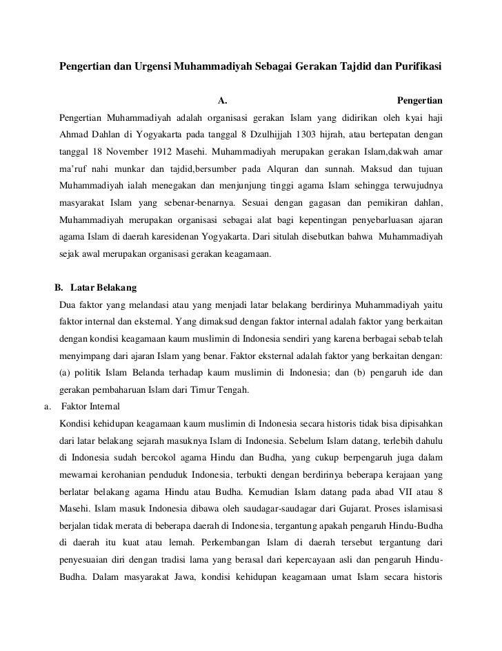 Pengertian dan Urgensi Muhammadiyah Sebagai Gerakan Tajdid dan Purifikasi                                             A.  ...