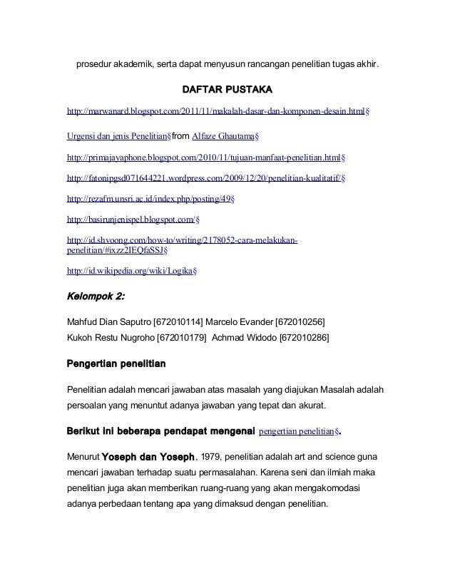 Pengertian dan urgensi penelitian