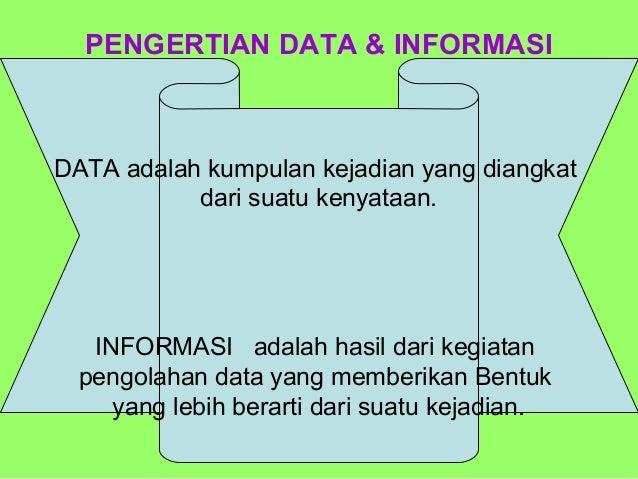 PENGERTIAN DATA & INFORMASIDATA adalah kumpulan kejadian yang diangkat           dari suatu kenyataan.   INFORMASI adalah ...