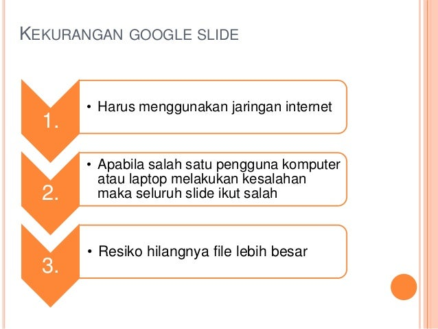 KEKURANGAN GOOGLE SLIDE 1. • Harus menggunakan jaringan internet 2. • Apabila salah satu pengguna komputer atau laptop mel...