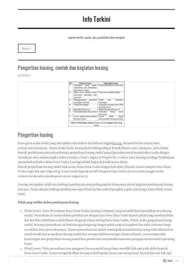 Pengertian Leasing Contoh Dan Kegiatan Leasing