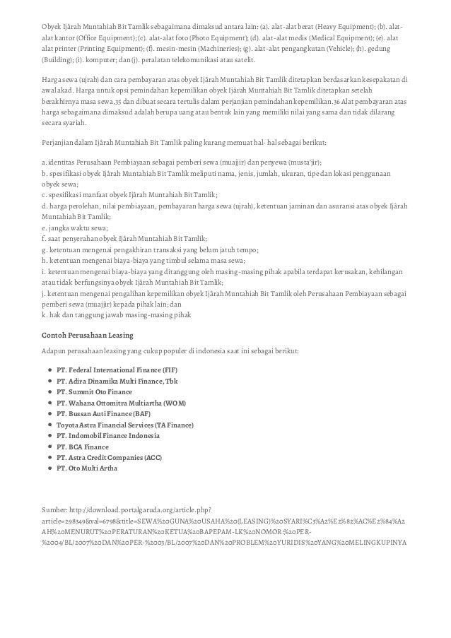 Pengertian & Contoh Leasing (Lembaga Pembiayaan Sewa Guna Usaha)