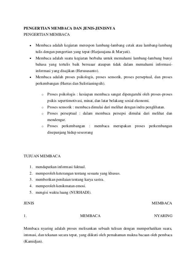 PENGERTIAN MEMBACA DAN JENIS-JENISNYAPENGERTIAN MEMBACA        Membaca adalah kegiatan merespon lambang-lambang cetak atau...