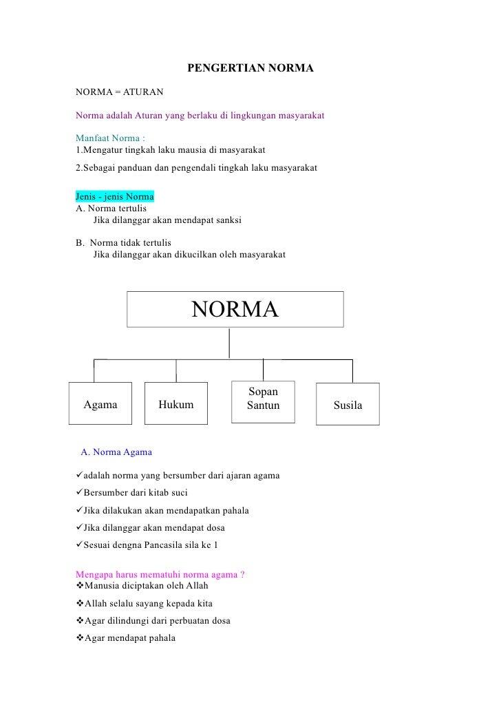 PENGERTIAN NORMANORMA = ATURANNorma adalah Aturan yang berlaku di lingkungan masyarakatManfaat Norma :1.Mengatur tingkah l...
