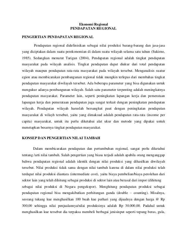 Ekonomi Regional                                 PENDAPATAN REGIONALPENGERTIAN PENDAPATAN REGIONAL        Pendapatan regio...