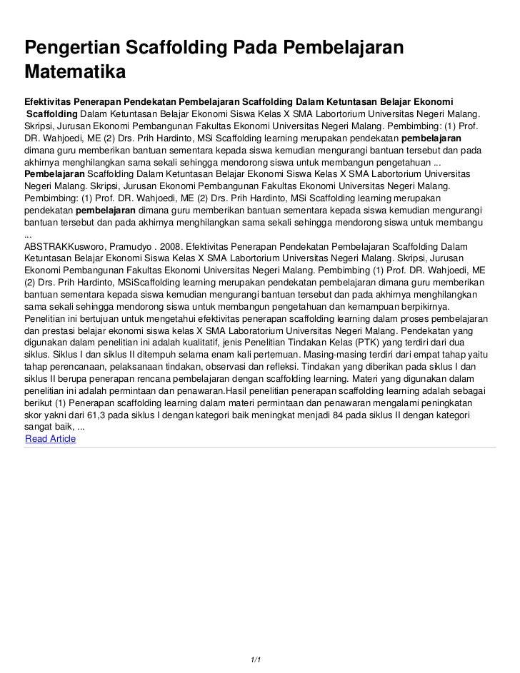 Pengertian Scaffolding Pada PembelajaranMatematikaEfektivitas Penerapan Pendekatan Pembelajaran Scaffolding Dalam Ketuntas...
