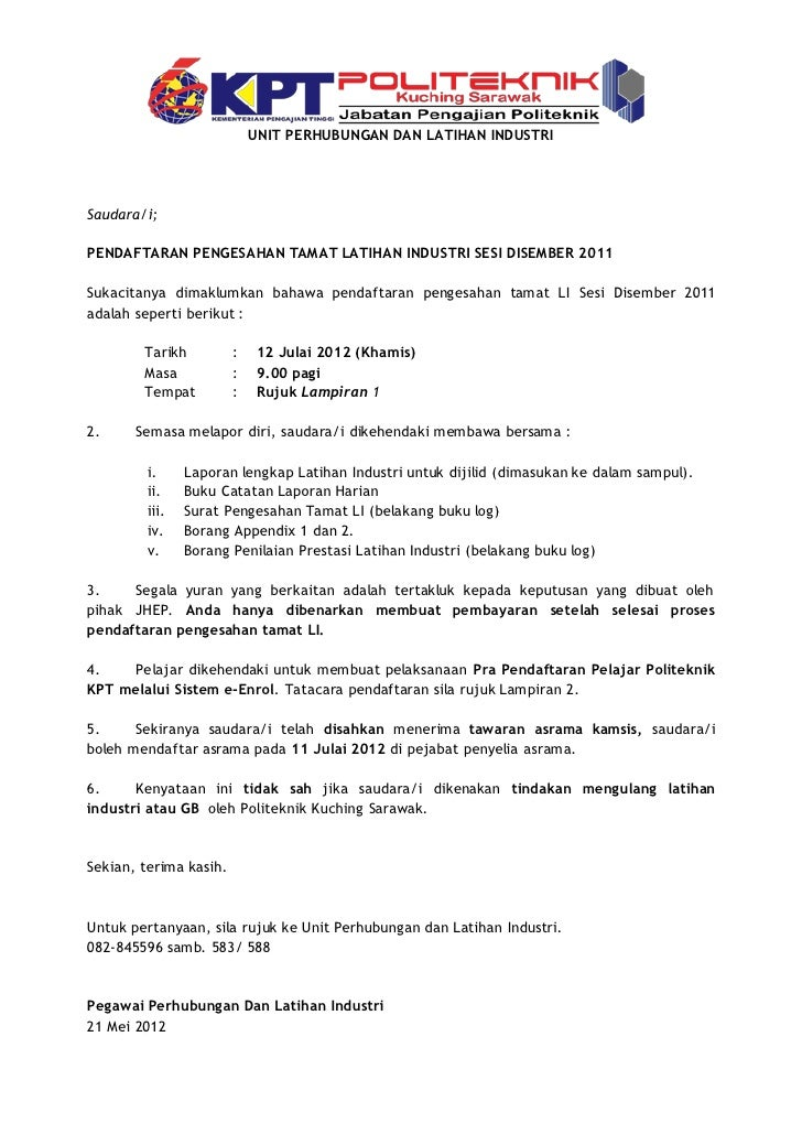 Surat Rasmi Lapor Diri Jalan Permata 1