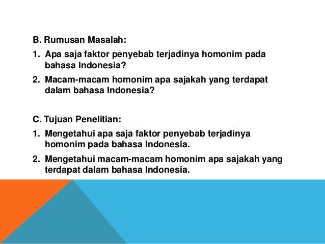 Penggunaan Homonim Bahasa Indonesia Dalam Kalimat