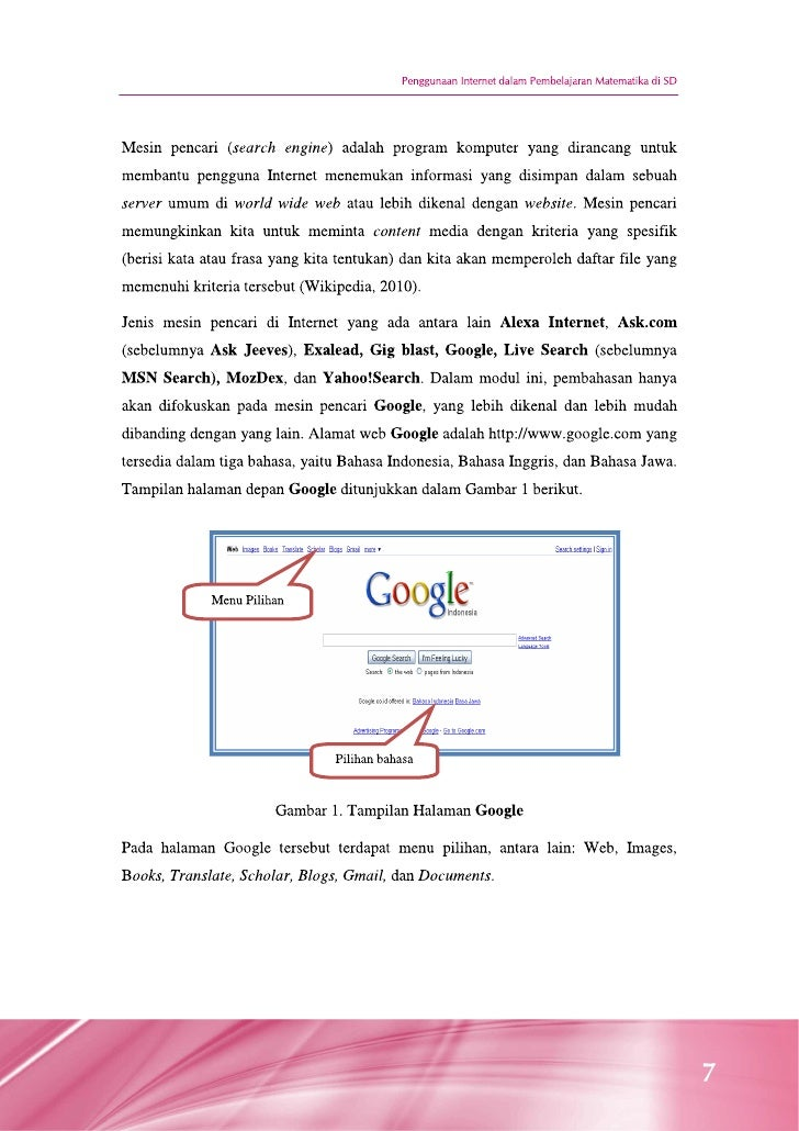 Penggunaan Internet Dalam Pembelajaran Matematika Di Sd