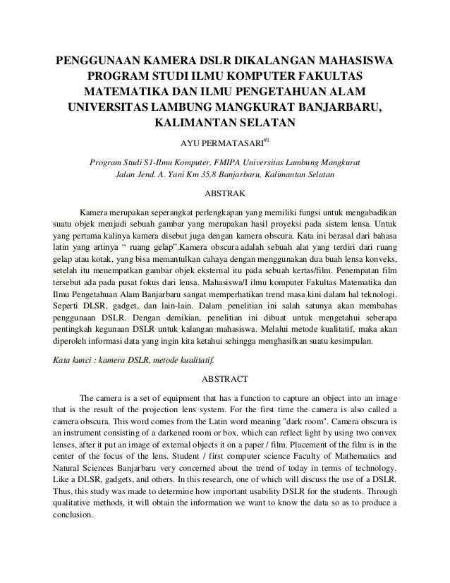 PENGGUNAAN KAMERA DSLR DIKALANGAN MAHASISWA PROGRAM STUDI ILMU KOMPUTER FAKULTAS MATEMATIKA DAN ILMU PENGETAHUAN ALAM UNIV...