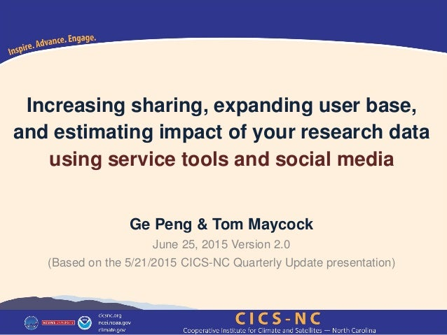 Increasing sharing, expanding user base, and estimating impact of your research data using service tools and social media ...