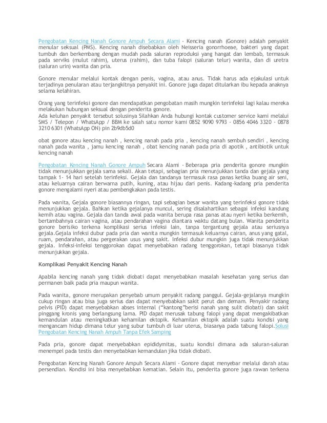 Pengobatan Kencing Nanah Gonore Ampuh Secara Alami - Kencing nanah (Gonore) adalah penyakit menular seksual (PMS). Kencing...