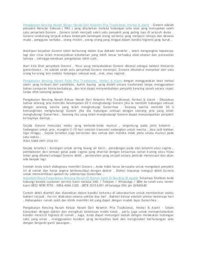 Pengobatan Kencing Nanah Keluar Nanah Dari Kelamin Pria Tradisional, Herbal & Alami - Gonore adalah penyakit Menular Seksu...
