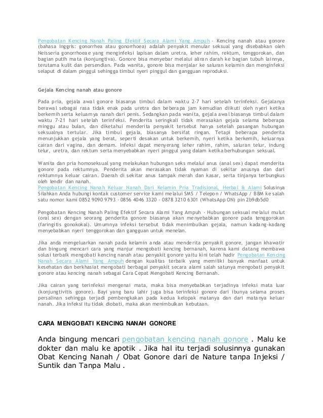Pengobatan Kencing Nanah Paling Efektif Secara Alami Yang Ampuh - Kencing nanah atau gonore (bahasa Inggris: gonorrhea ata...