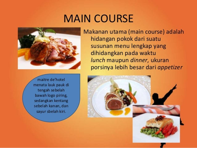 Klasifikasi Menu Kontinental Appetizer Main Course Dessert