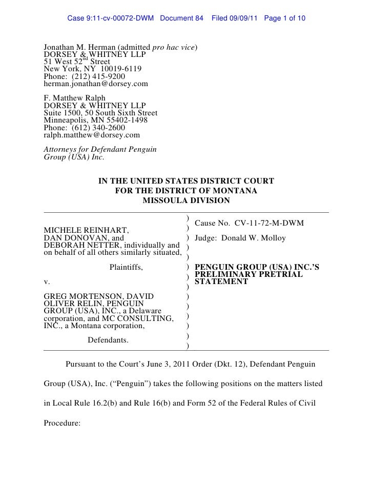 Case 9:11-cv-00072-DWM Document 84           Filed 09/09/11 Page 1 of 10Jonathan M. Herman (admitted pro hac vice)DORSEY &...