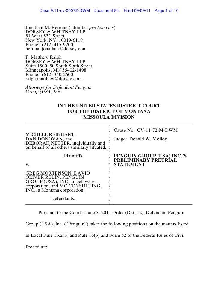 penguin u0026 39 s preliminary pretrial statement doc 84