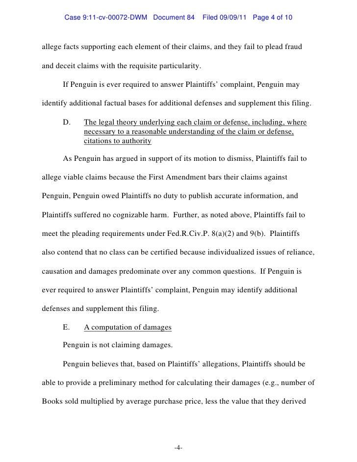 Penguin's preliminary pretrial statement doc 84