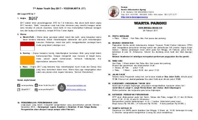 7th Asian Youth Day 2017 – YOGYAKARTA (17) Arti Logo AYD ke 7 1. Angka 2017 adalah tahun penyelenggaraan AYD ke-7 di Indon...