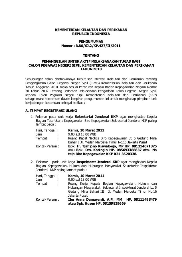 KEMENTERIAN KELAUTAN DAN PERIKANAN                          REPUBLIK INDONESIA                                  PENGUMUMAN...