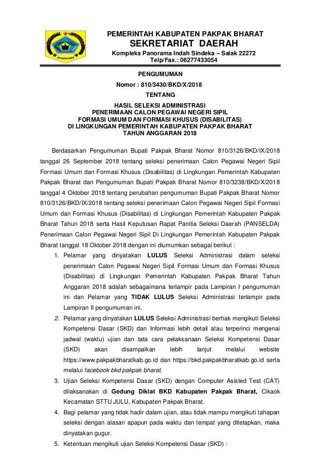 PENGUMUMAN Nomor : 810/3430/BKD/X/2018 TENTANG HASIL SELEKSI ADMINISTRASI PENERIMAAN CALON PEGAWAI NEGERI SIPIL FORMASI UM...