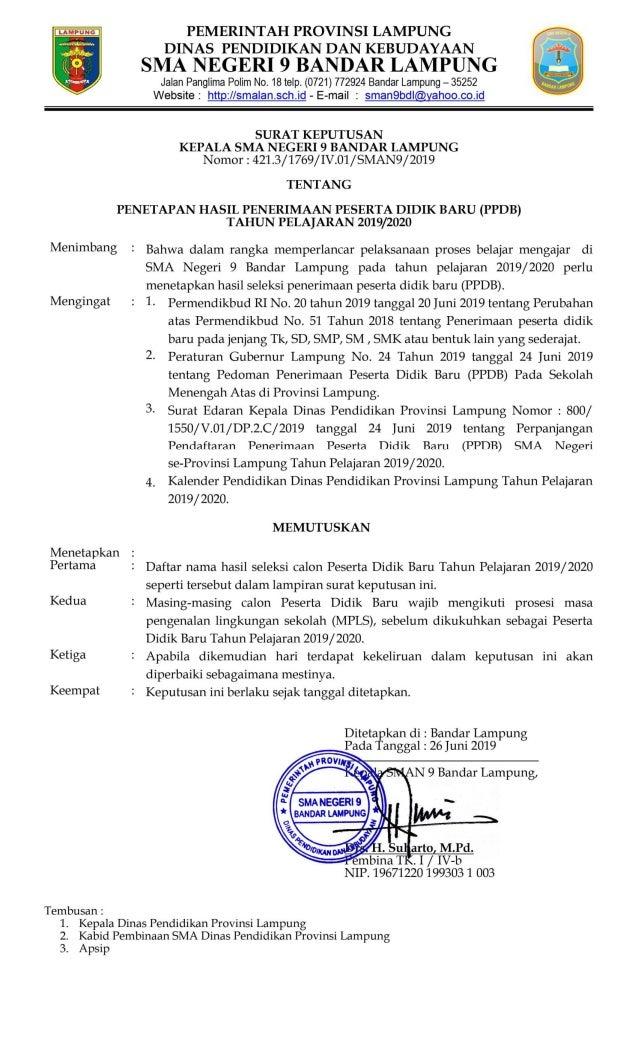 Pengumuman Lengkap PPDB 2019 SMA Negeri 9 Bandar Lampung
