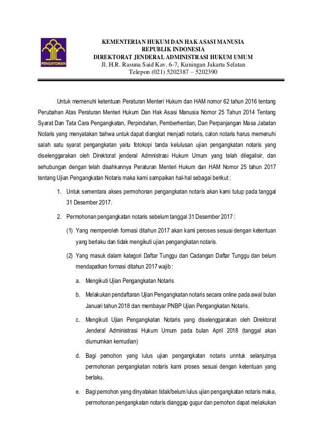 KEMENTERIAN HUKUM DAN HAK ASASI MANUSIA REPUBLIK INDONESIA DIREKTORAT JENDERAL ADMINISTRASI HUKUM UMUM Jl. H.R. Rasuna Sai...