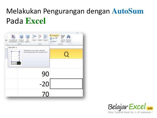 Melakukan Pengurangan dengan AutoSum  Pada Excel