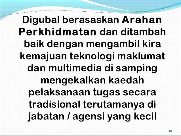Digubal berasaskan ArahanPerkhidmatan dan ditambah baik dengan mengambil kirakemajuan teknologi maklumat  dan multimedia d...