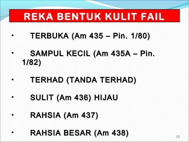 REKA BENTUK KULIT FAIL•    TERBUKA (Am 435 – Pin. 1/80)•     SAMPUL KECIL (Am 435A – Pin.    1/82)•    TERHAD (TANDA TERHA...