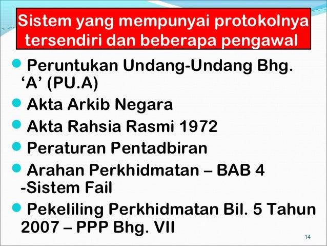 Sistem yang mempunyai protokolnya  tersendiri dan beberapa pengawalPeruntukan Undang-Undang Bhg. 'A' (PU.A)Akta Arkib Ne...