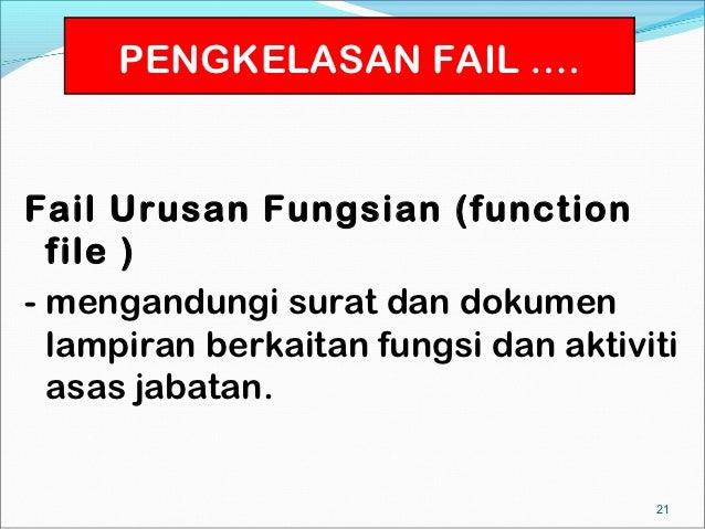 PENGKELASAN FAIL ….Fail Urusan Fungsian (function  file )- mengandungi surat dan dokumen  lampiran berkaitan fungsi dan ak...
