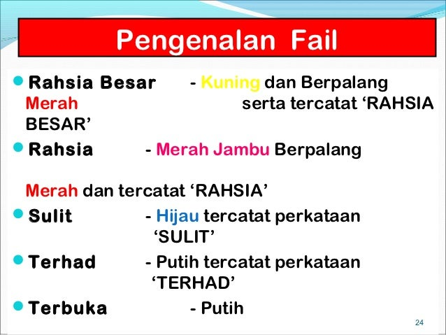 Pengenalan FailRahsia Besar       - Kuning dan Berpalang Merah                    serta tercatat 'RAHSIA BESAR'Rahsia   ...