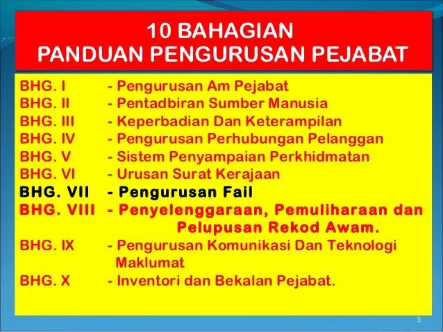 10 BAHAGIAN  PANDUAN PENGURUSAN PEJABATBHG. I      - Pengurusan Am PejabatBHG. II     - Pentadbiran Sumber ManusiaBHG. III...