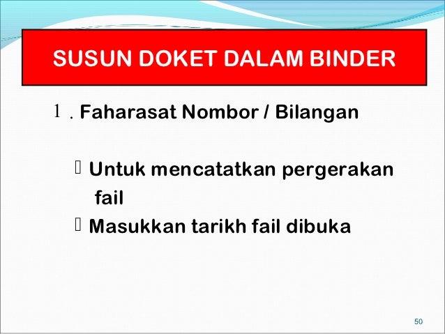 SUSUN DOKET DALAM BINDER1 . Faharasat Nombor / Bilangan   Untuk mencatatkan pergerakan    fail   Masukkan tarikh fail di...