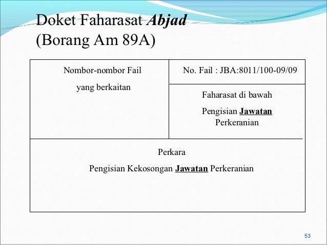 Doket Faharasat Abjad(Borang Am 89A)   Nombor-nombor Fail          No. Fail : JBA:8011/100-09/09      yang berkaitan      ...