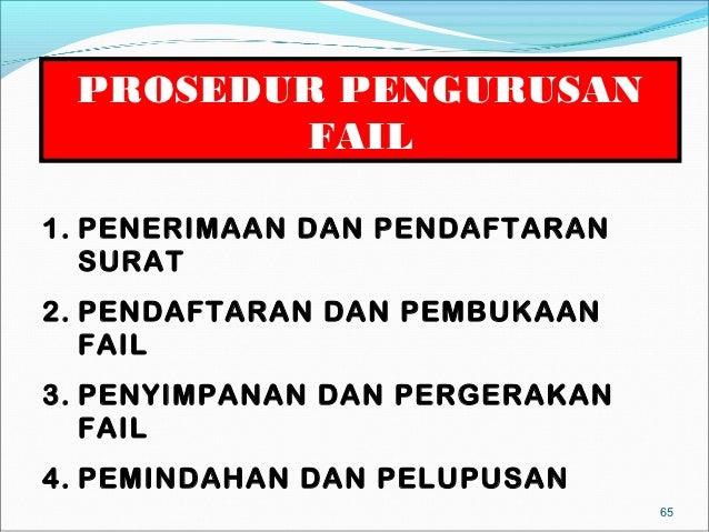 PROSEDUR PENGURUSAN        FAIL1. PENERIMAAN DAN PENDAFTARAN   SURAT2. PENDAFTARAN DAN PEMBUKAAN   FAIL3. PENYIMPANAN DAN ...