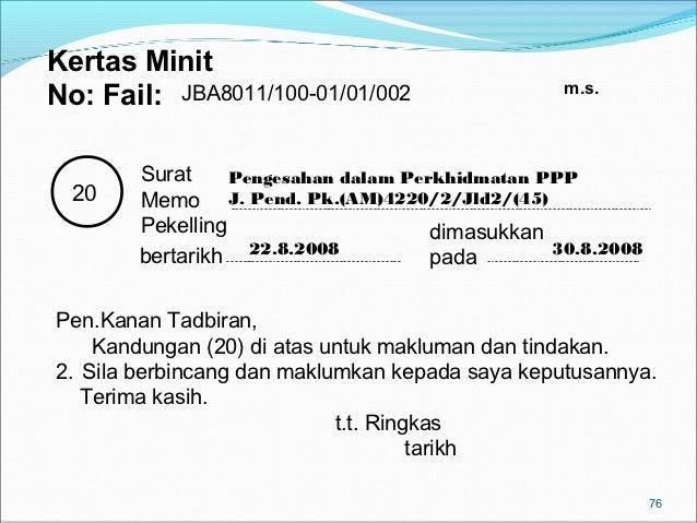 Kertas Minit                                                  m.s.No: Fail: JBA8011/100-01/01/002        Surat     Pengesa...