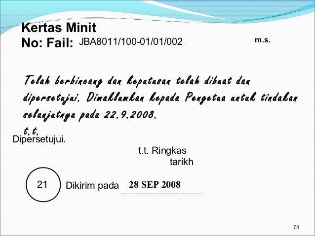 Kertas Minit                                                 m.s.  No: Fail: JBA8011/100-01/01/002  Telah berbincang dan k...