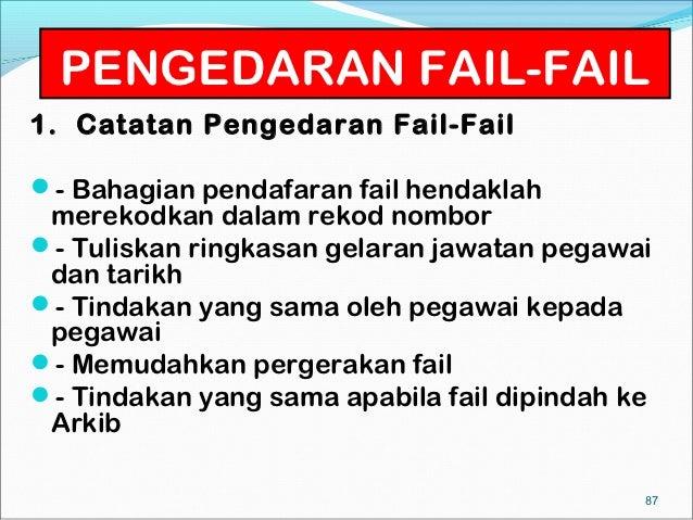 PENGEDARAN FAIL-FAIL1. Catatan Pengedaran Fail-Fail- Bahagian pendafaran fail hendaklah merekodkan dalam rekod nombor- T...