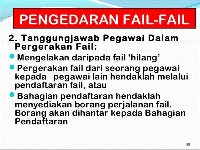 PENGEDARAN FAIL-FAIL2. Tanggungjawab Pegawai Dalam Pergerakan Fail:Mengelakan daripada fail 'hilang'Pergerakan fail dari...
