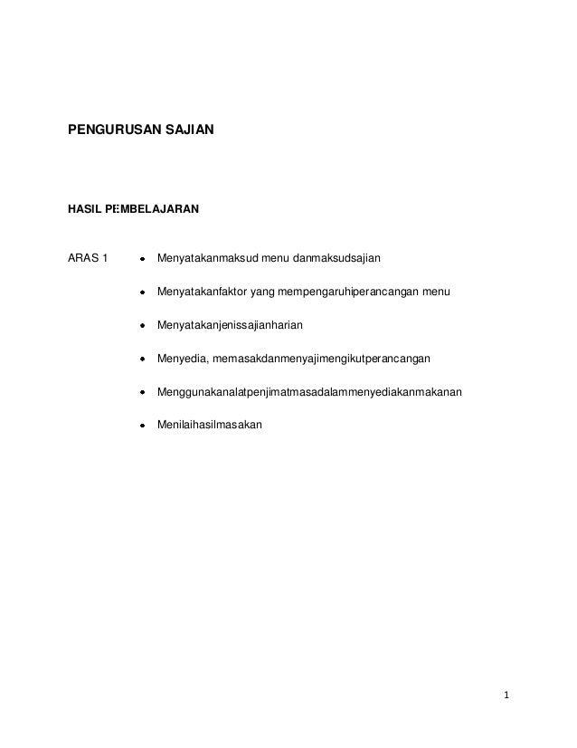 PENGURUSAN SAJIANHASIL PEMBELAJARANARAS 1      Menyatakanmaksud menu danmaksudsajian            Menyatakanfaktor yang memp...