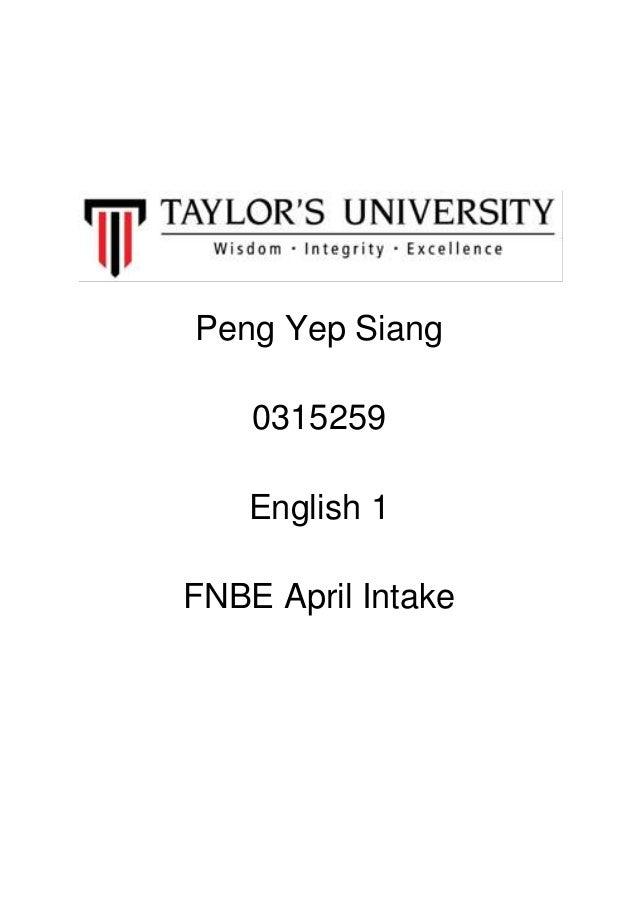 Peng Yep Siang0315259English 1FNBE April Intake