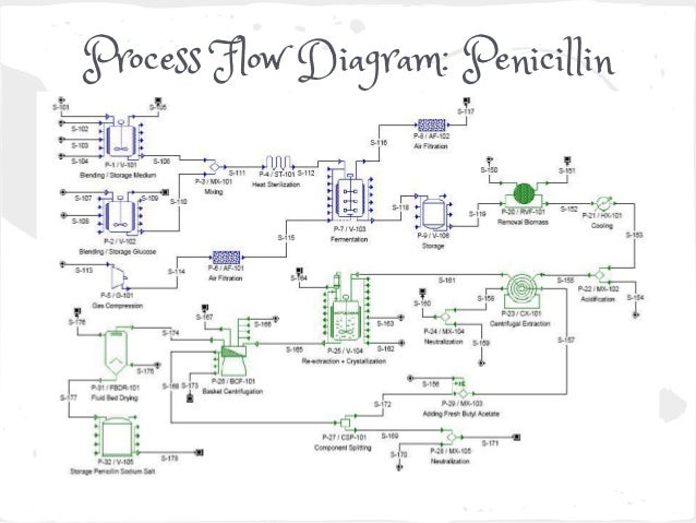 penicillin production rh slideshare net Engineering Process Flow Diagram Process Flow Map