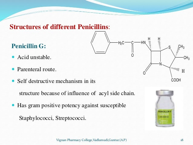 Structures of different Penicillins: Penicillin G:  Acid unstable.  Parenteral route.  Self destructive mechanism in it...