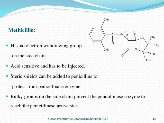 Methicillin:  Has no electron withdrawing group on the side chain.  Acid sensitive and has to be injected.  Steric shie...
