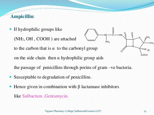 Ampicillin:  If hydrophilic groups like (NH2, OH , COOH ) are attached to the carbon that is α to the carbonyl group on t...