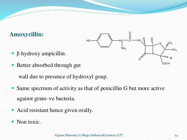Amoxycillin:  β hydroxy ampicillin.  Better absorbed through gut wall due to presence of hydroxyl goup.  Same spectrum ...