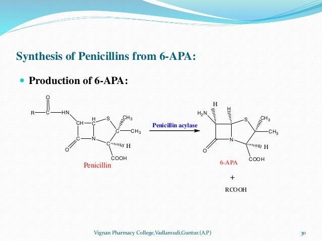 Synthesis of Penicillins from 6-APA:  Production of 6-APA: Vignan Pharmacy College,Vadlamudi,Guntur.(A.P) 30 CH C N H C C...