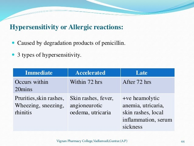 Hypersensitivity or Allergic reactions:  Caused by degradation products of penicillin.  3 types of hypersensitivity. Vig...